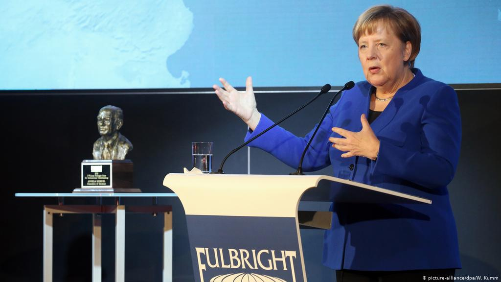 Watch this moving tribute to Angela Merkel winning the Fulbright Award for International Understanding: